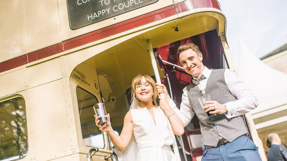 Customer wedding in Routemaster bus